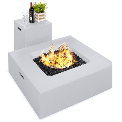 Best Choice Products 35x35in 40,000 BTU Outdoor Square Propane Fire Pit Table w/ Side Table Tank Storage, Cover