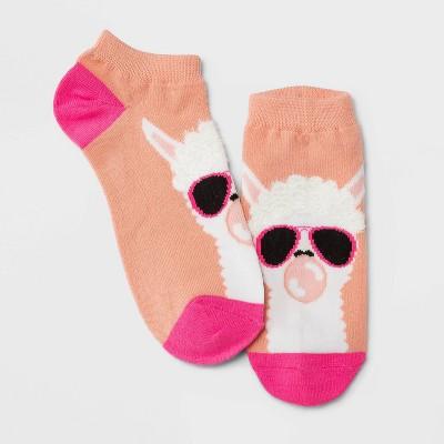 Women's Fuzzy Llama in Sunglasses Low Cut Socks - Xhilaration™ Pink 4-10