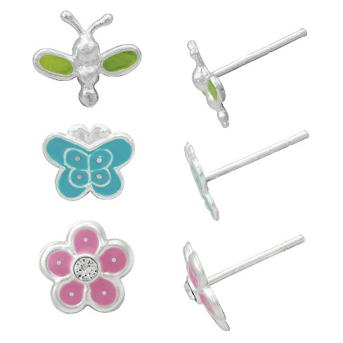 Women's Flower-Dragonfly and Butterfly Stud Earring Set in Sterling Silver - Pink/Green/Blue - image 1 of 1