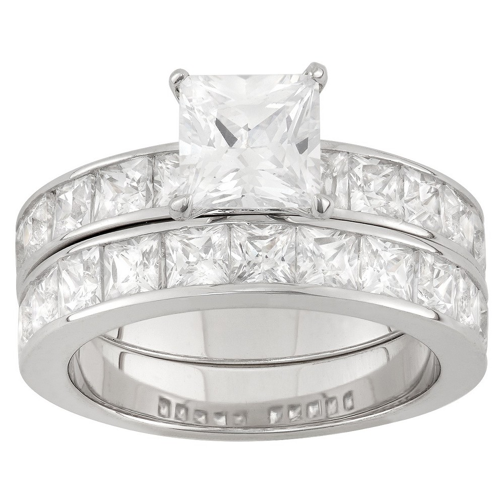 6.36 CT. T.W. Princess-Cut 2 Piece Bridal Ring Set In Sterling Silver - (7), Girl's