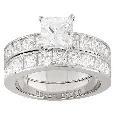6.36 CT. T.W. Cubic Zirconia Engagement Ring Set In Sterling Silver - image 1 of 3