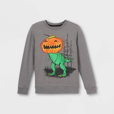 Boys' Dino 'Jack-o-lantern' Graphic Long Sleeve T-Shirt - Cat & Jack™ Charcoal Gray
