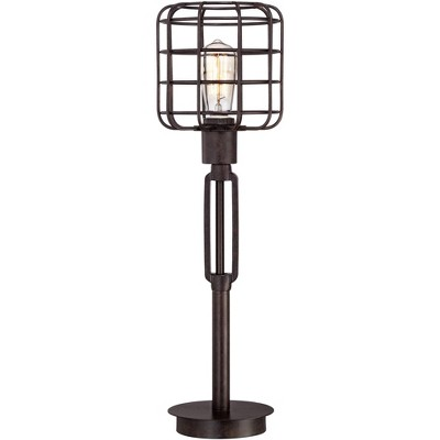 Franklin Iron Works Industrial Modern Desk Table Lamp Bronze Cage Shade Edison Style Bulb for Living Room Family Bedroom Office