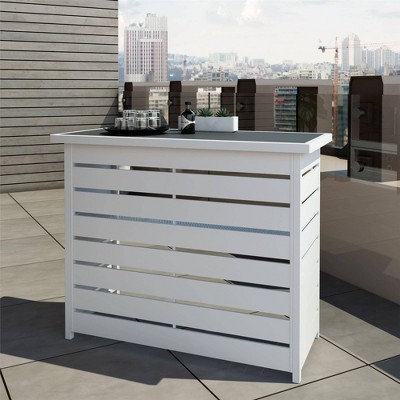 Ariesa Outdoor Bar Table - White & Gray - CosmoLiving