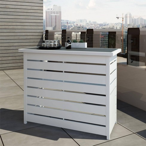 Ariesa Outdoor Bar Table - White & Gray - CosmoLiving - image 1 of 4