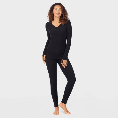 Warm Essentials by Cuddl Duds Women's Textured Fleece Thermal Leggings - Black - image 1 of 4