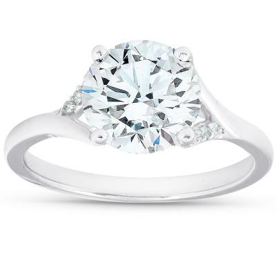 Pompeii3 2 1/2 Ct Moissanite & Diamond Engagement Ring 14k White Gold