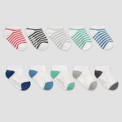 Fruit of the Loom Baby Boys' Striped 10pk Beyondsoft Breathable Socks - 12-24M