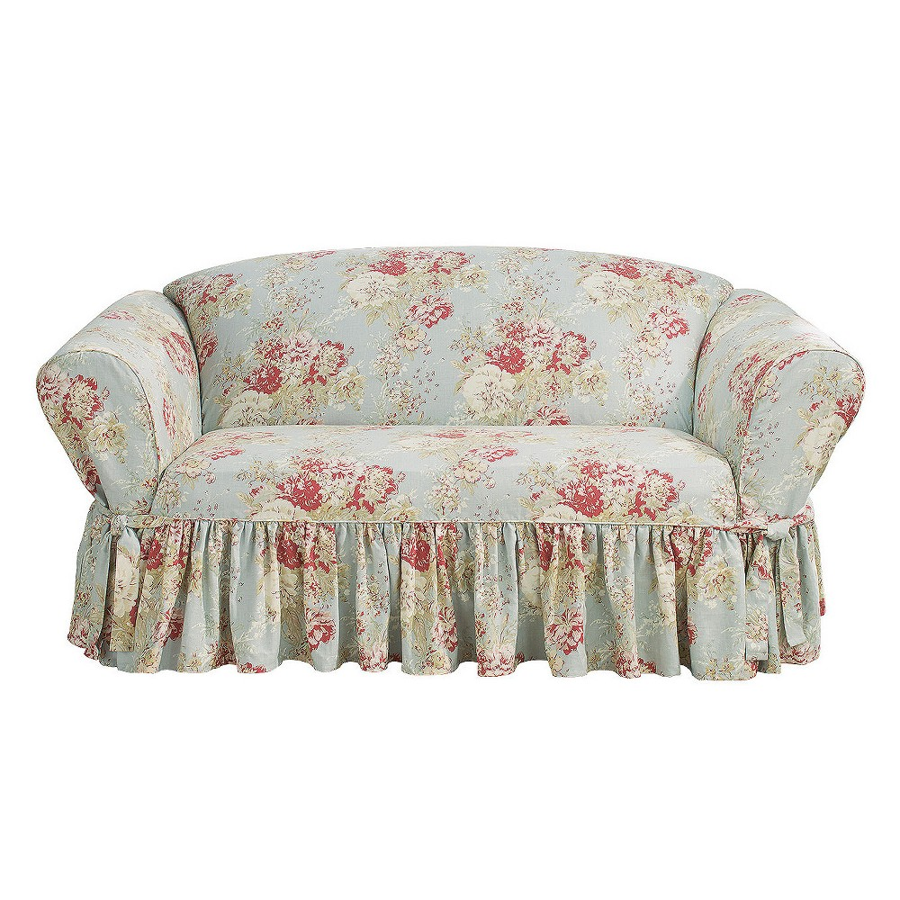 Magnificent Ballad Bouquet Loveseat Slipcover Robins Egg Blue Sure Fit Ncnpc Chair Design For Home Ncnpcorg