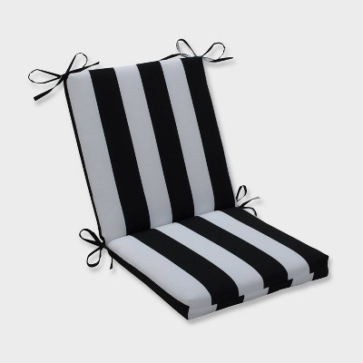 Cabana Stripe Squared Corners Outdoor Chair Cushion Black - Pillow Perfect