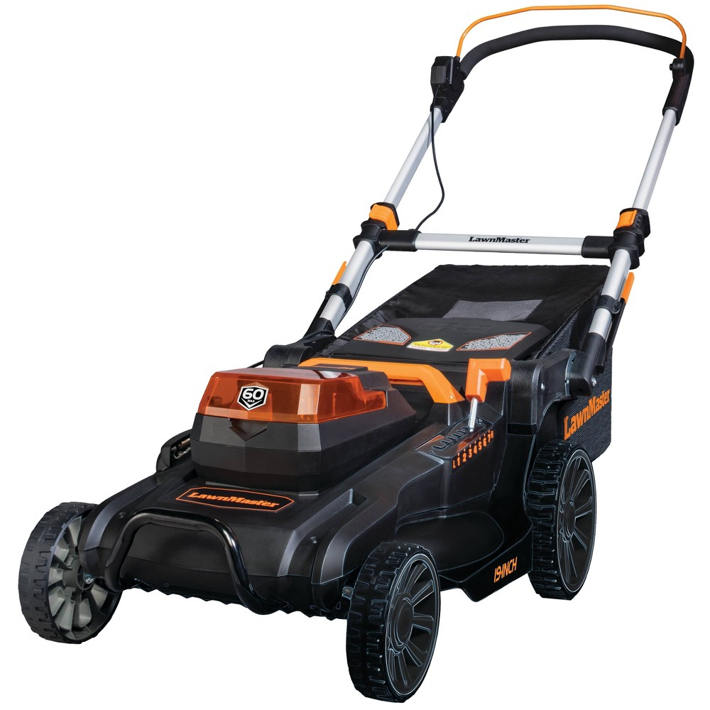 "Image of ""19"""" 60v Brushed Axial Cordless Lawn Mower, Black Orange"""