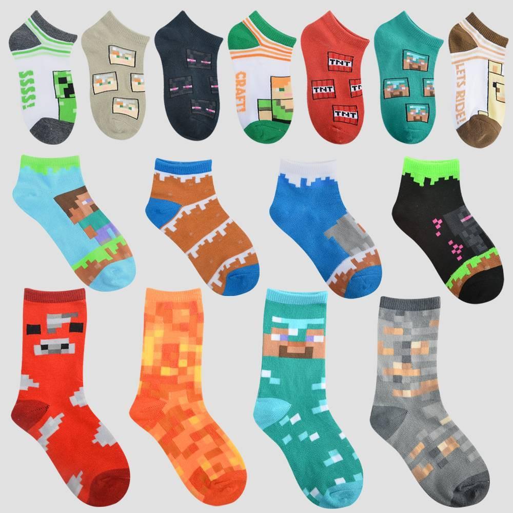 Image of Boys' Minecraft 15 Days of Socks Advent Calendar - Colors May Vary M, Boy's, Size: Medium, Blue