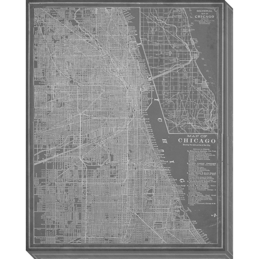 Image of City Map of Chicago Unframed Wall Canvas Art - (24X30), Gray
