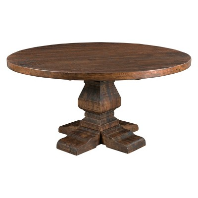 Woodbridge Round Dining Table Brown - Treasure Trove Accents