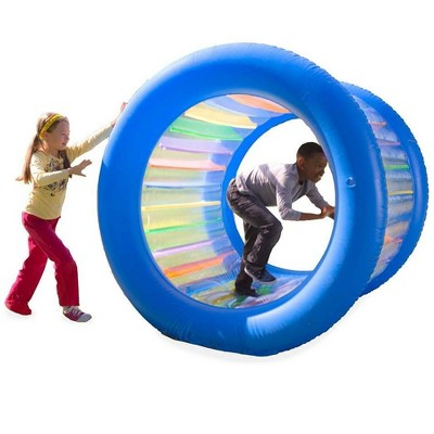 HearthSong Roll With It! Giant Inflatable Colorful Rolling Wheel for Active Outdoor Play