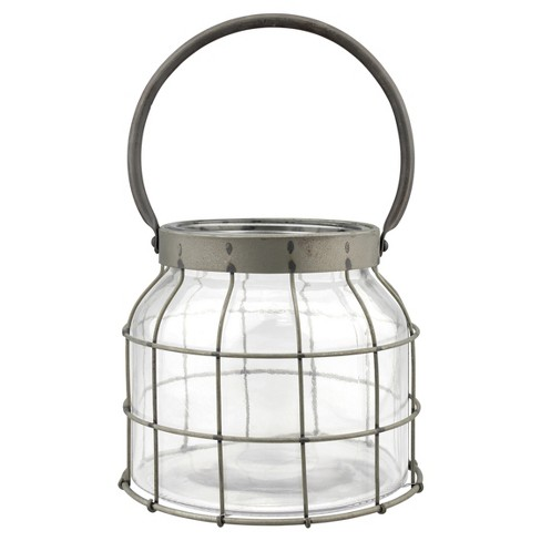 Stonebriar Metal Cage Candle Lantern with Handle - image 1 of 4