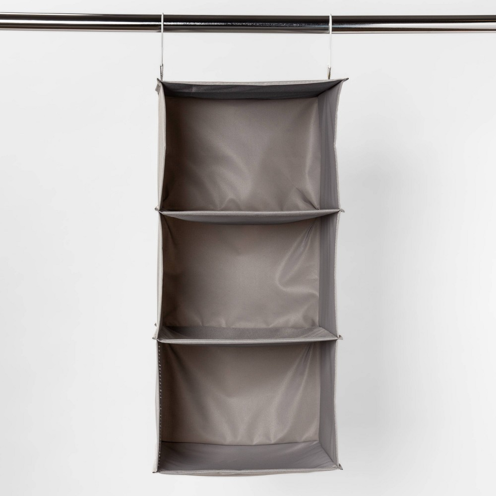 Image of 3-Shelf Hanging Closet Organizer Gray - Room Essentials