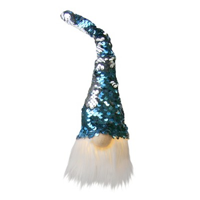"Northlight 10"" Pre-lit Gnome with Blue and Silver Flip Sequin Hat Christmas Decoration"