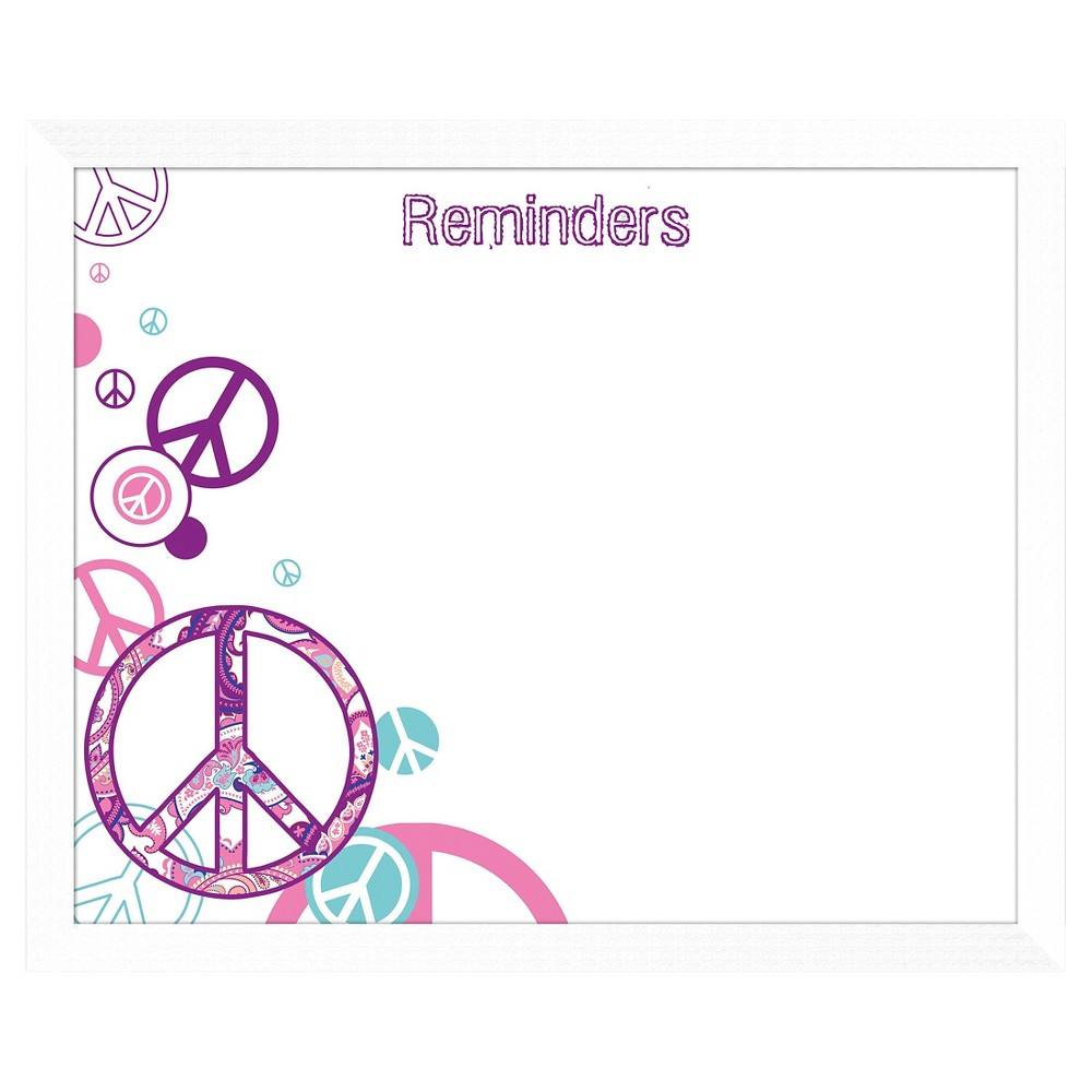 Peace Sign Reminders Decorative Memoboard, White