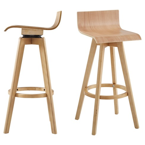 Superb Tisha 29 Mid Century Modern Swivel Wood Bar Stool Set Of 2 Inspire Q Camellatalisay Diy Chair Ideas Camellatalisaycom