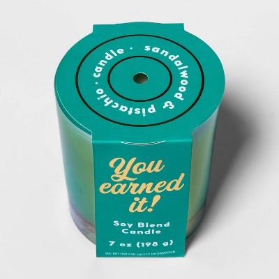 7oz Iridescent Glass Jar 'You Earned It' Sandalwood and Pistachio Candle - Opalhouse™