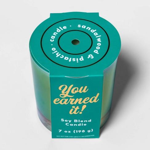 7oz Iridescent Glass Jar 'You Earned It' Sandalwood and Pistachio Candle - Opalhouse™ - image 1 of 2