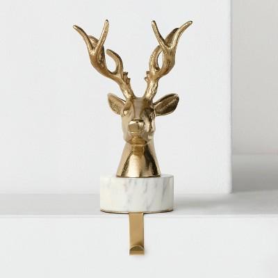 Stocking Holder Brass Marble Deer - Wondershop™