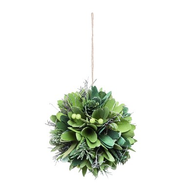 Transpac Wood 6 in. Green Christmas Curl Ball