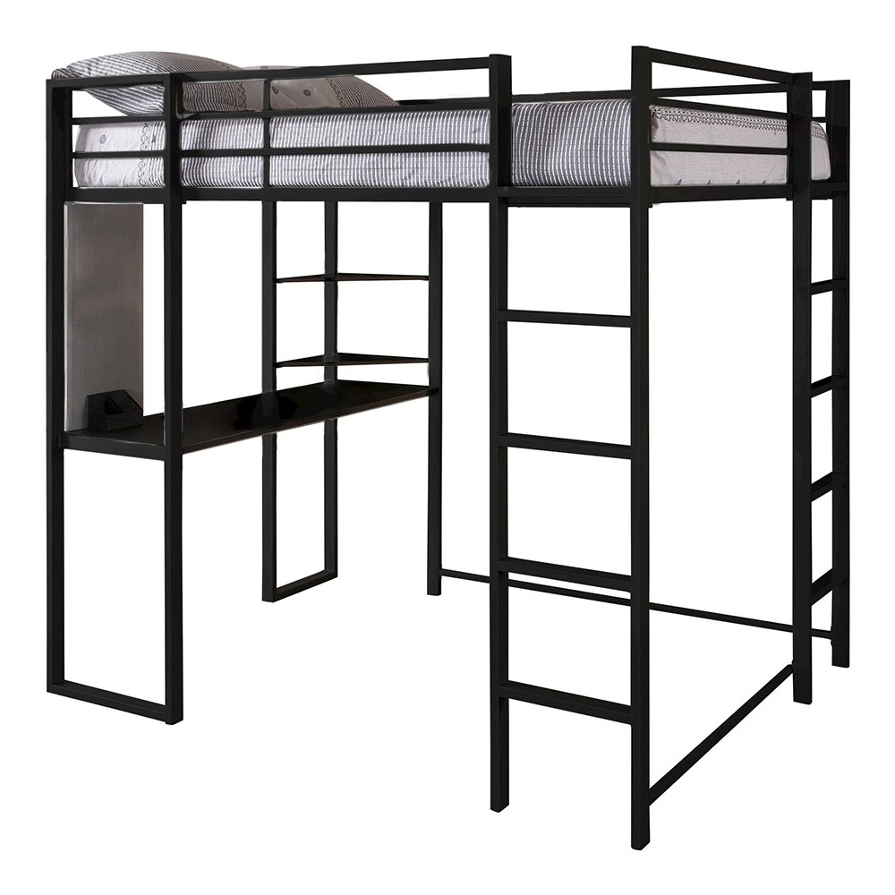 Image of Adele Loft Bed with Desk (Full) Black - Room & Joy