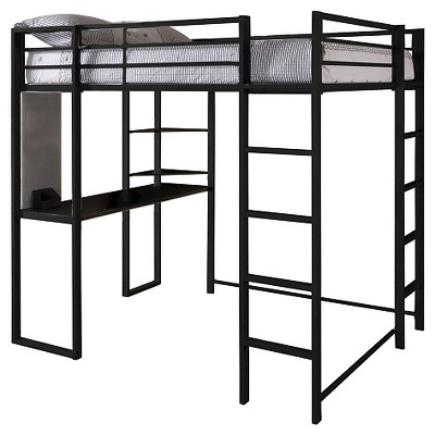 Beau Adele Loft Bed With Desk (Full) Black   Room U0026 Joy