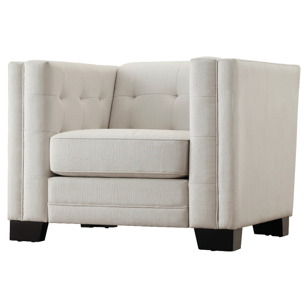 Flatiron Tufted Arm Chair - Off-White - Inspire Q, White