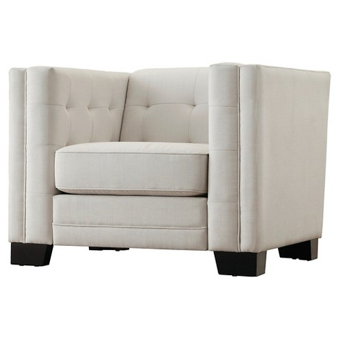 Flatiron Tufted Arm Chair - Off-White - Inspire Q - image 1 of 6