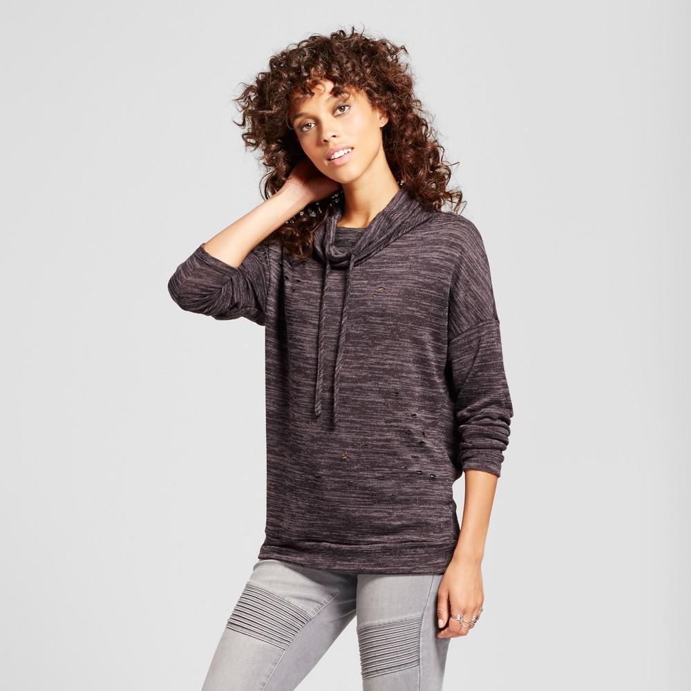 Image of Women's Destructed Cowl Neck Sweatshirt - Alison Andrews Gray L, Women's, Size: Large
