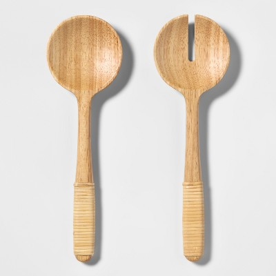 2pc Wood Salad Serving Set Brown - Threshold™