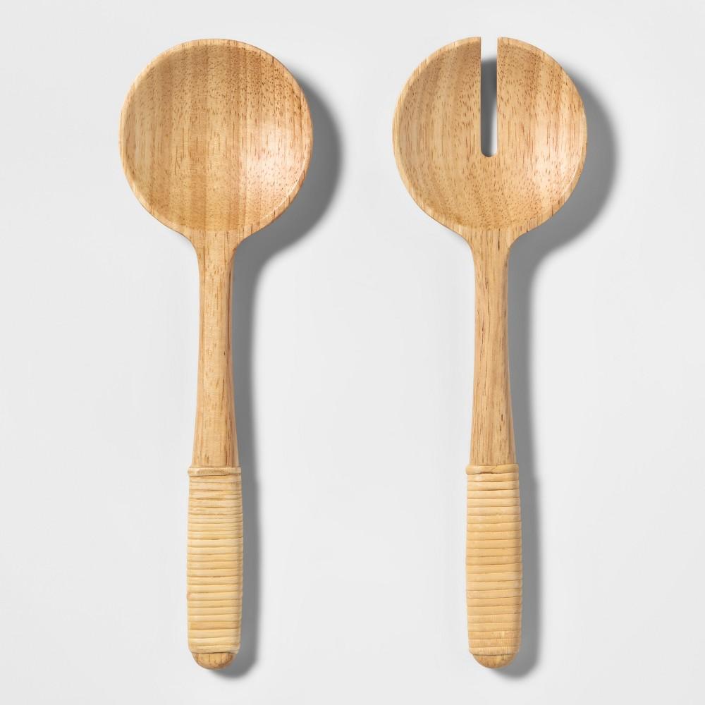 Image of 2pc Wood Salad Serving Set Brown - Threshold