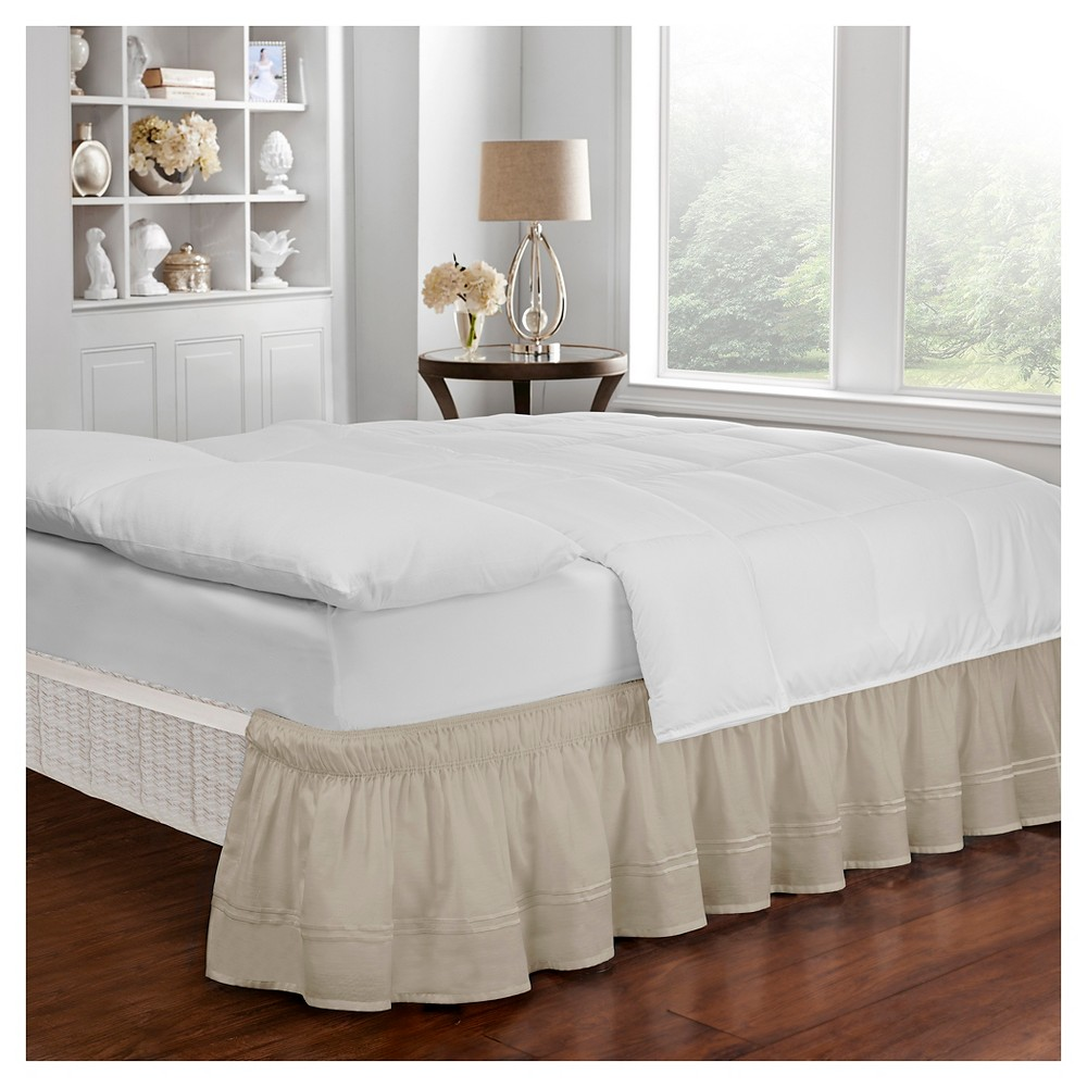Tan Wrap Around Baratta Stitch Ruffled Bed Skirt (Twin/Full) (75