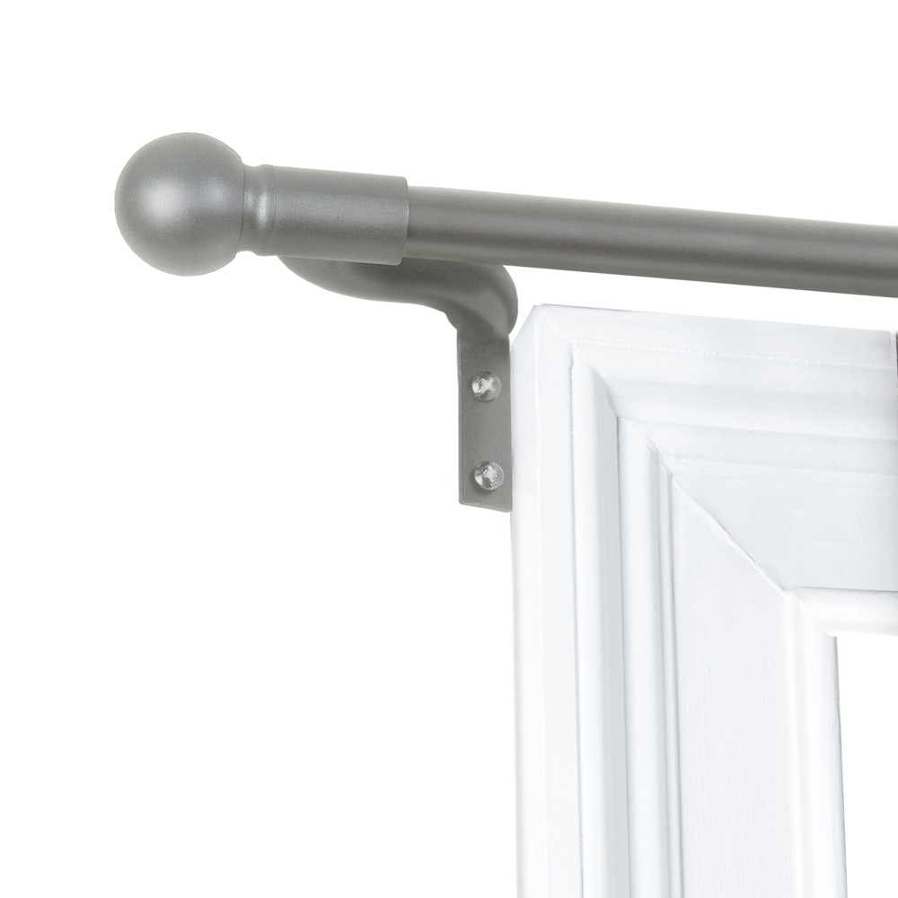 "Image of ""48""""x120"""" Easy Install Café Window Rod Brushed Nickel - Smart Rods"""