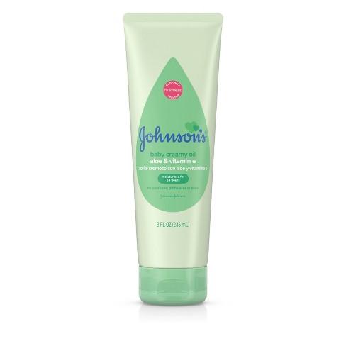 Johnson's Creamy Aloe & Vitamin E Oil - 8 fl oz - image 1 of 4