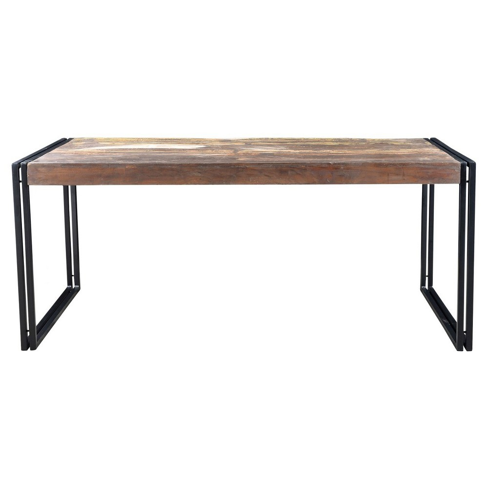 Old Reclaimed Wood 71 Dining Table with Iron Legs - Timbergirl, Multicolored