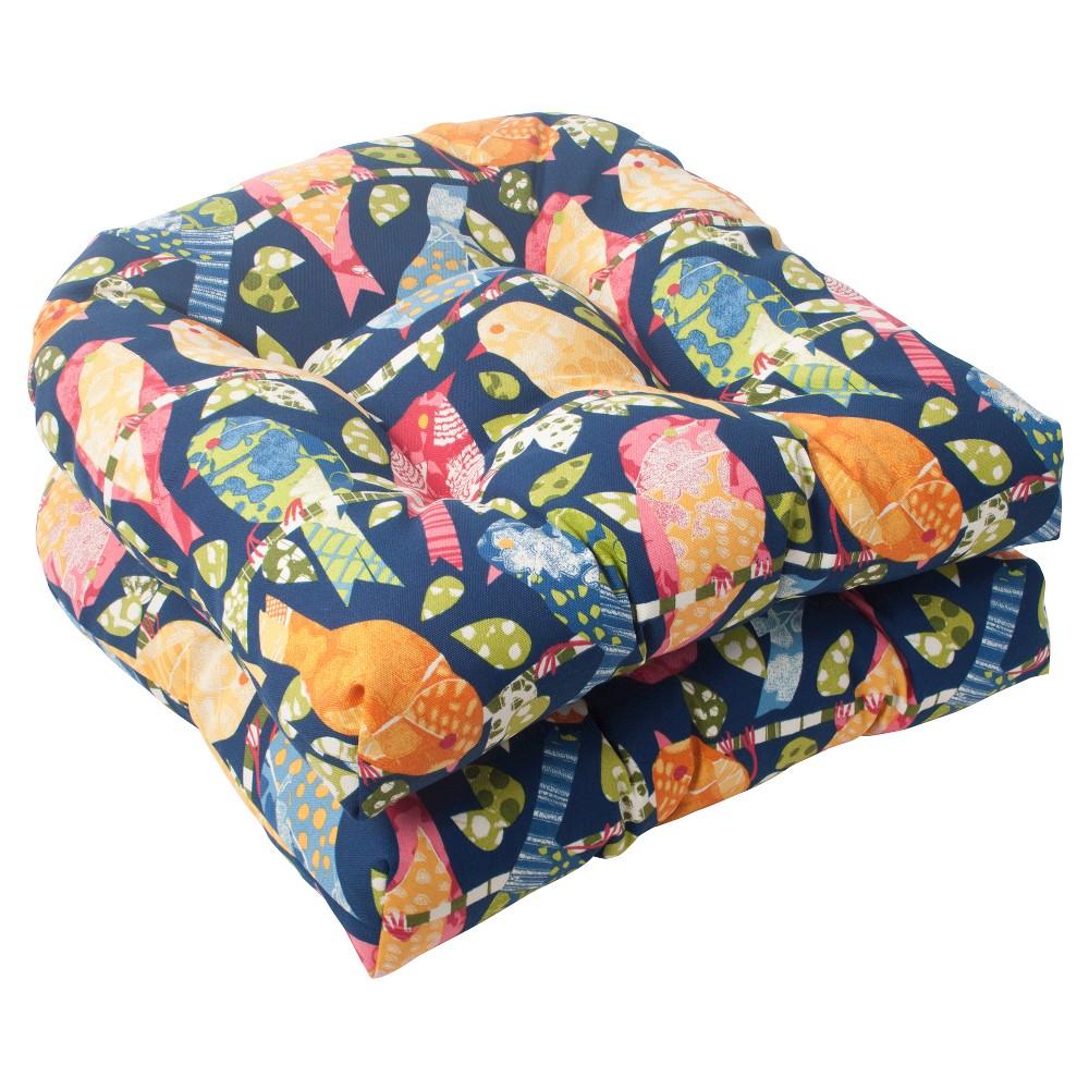 Outdoor 2-Piece Wicker Seat Cushion Set - Blue/Orange Birds, Blu/Org Bds
