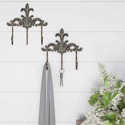 Pronged Cast Iron Decorative Hooks Dark Off-White (Set of 2)- Lavish Home