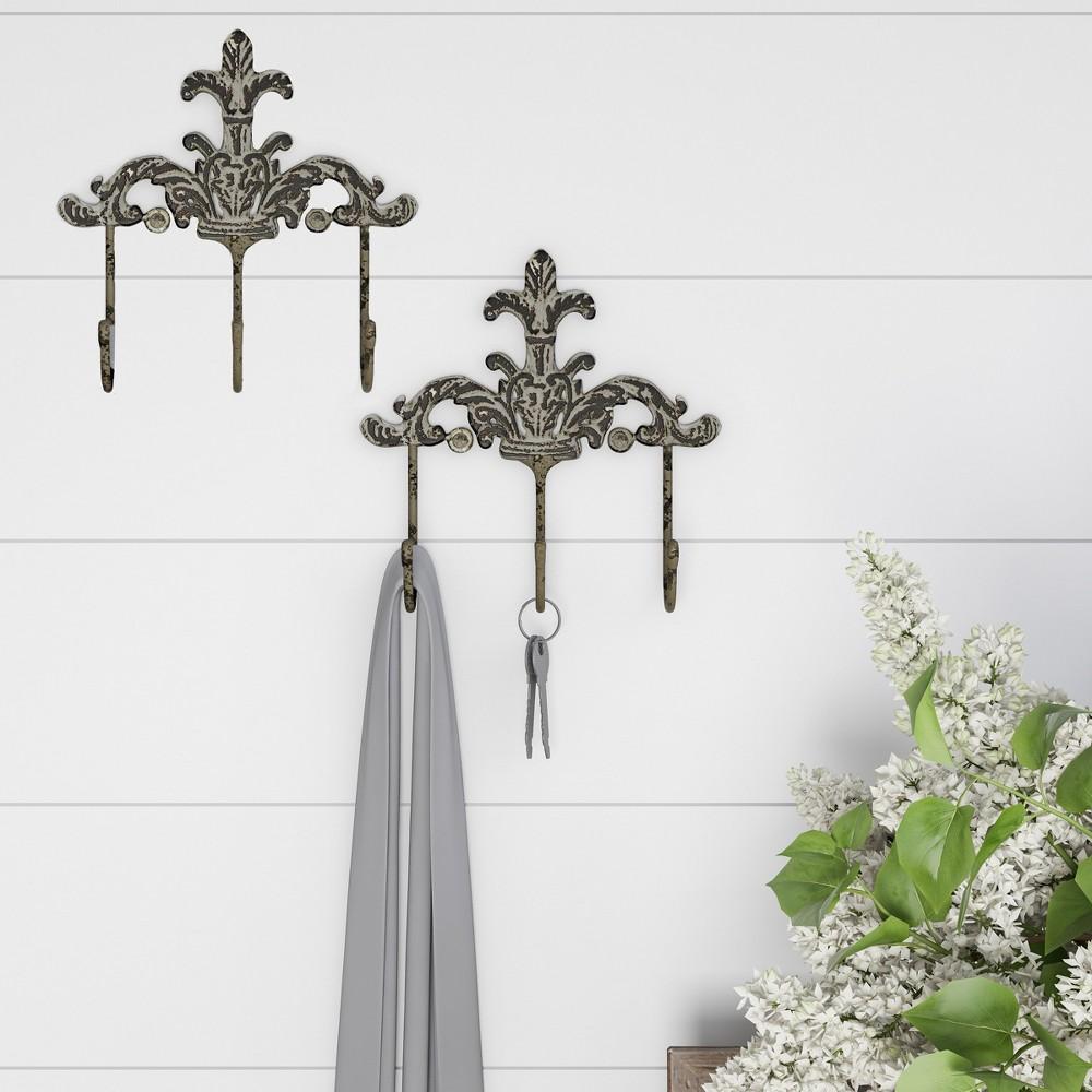 Image of Pronged Cast Iron Decorative Hooks Dark Off-White (Set of 2) - Lavish Home