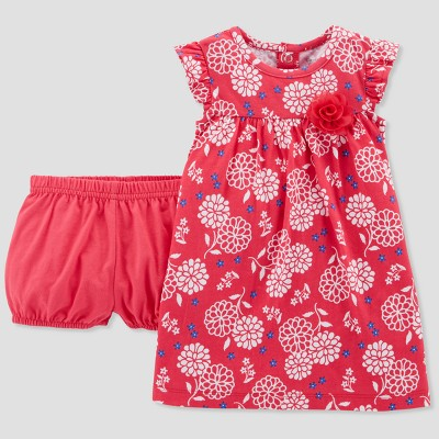 Baby Girls' 1pc Poppy Floral Dress - Just One You® made by carter's Coral 9M