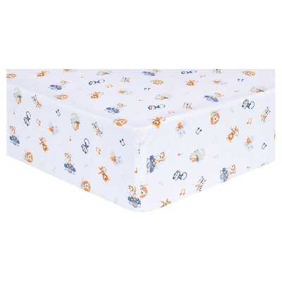 Trend Lab Animal Fitted Crib Sheet - Safari Rock Band
