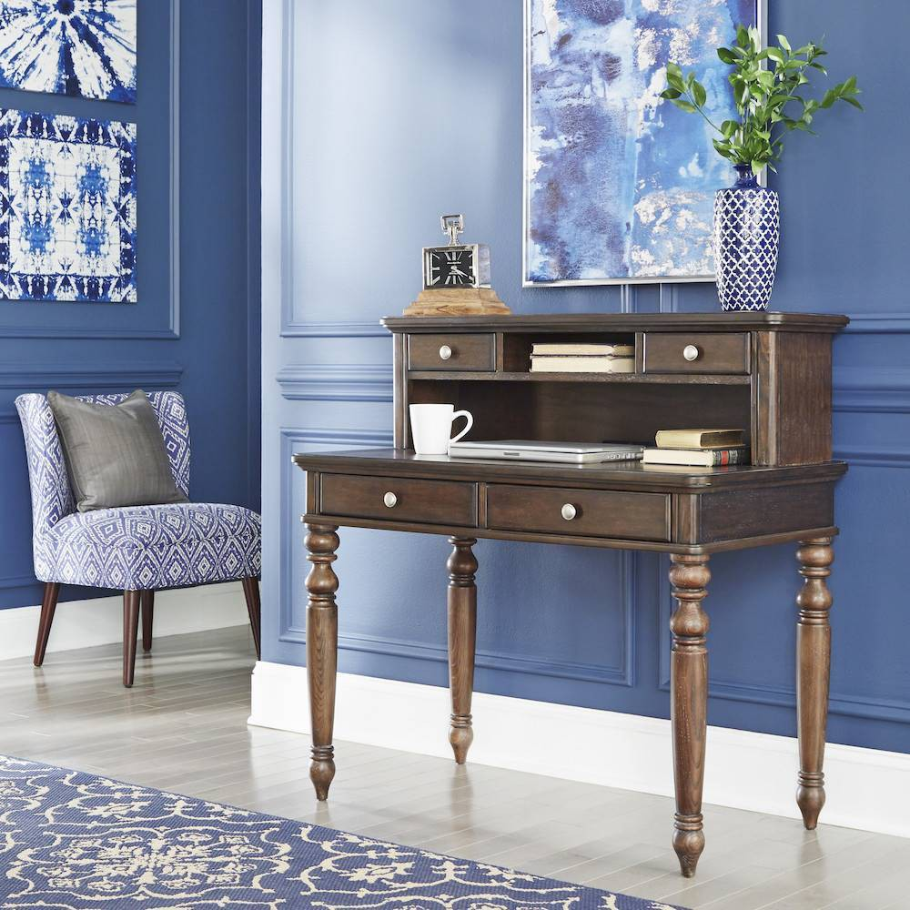 Image of Southport Writing Desk & Hutch Dark Aged Oak - Home Styles, Brown