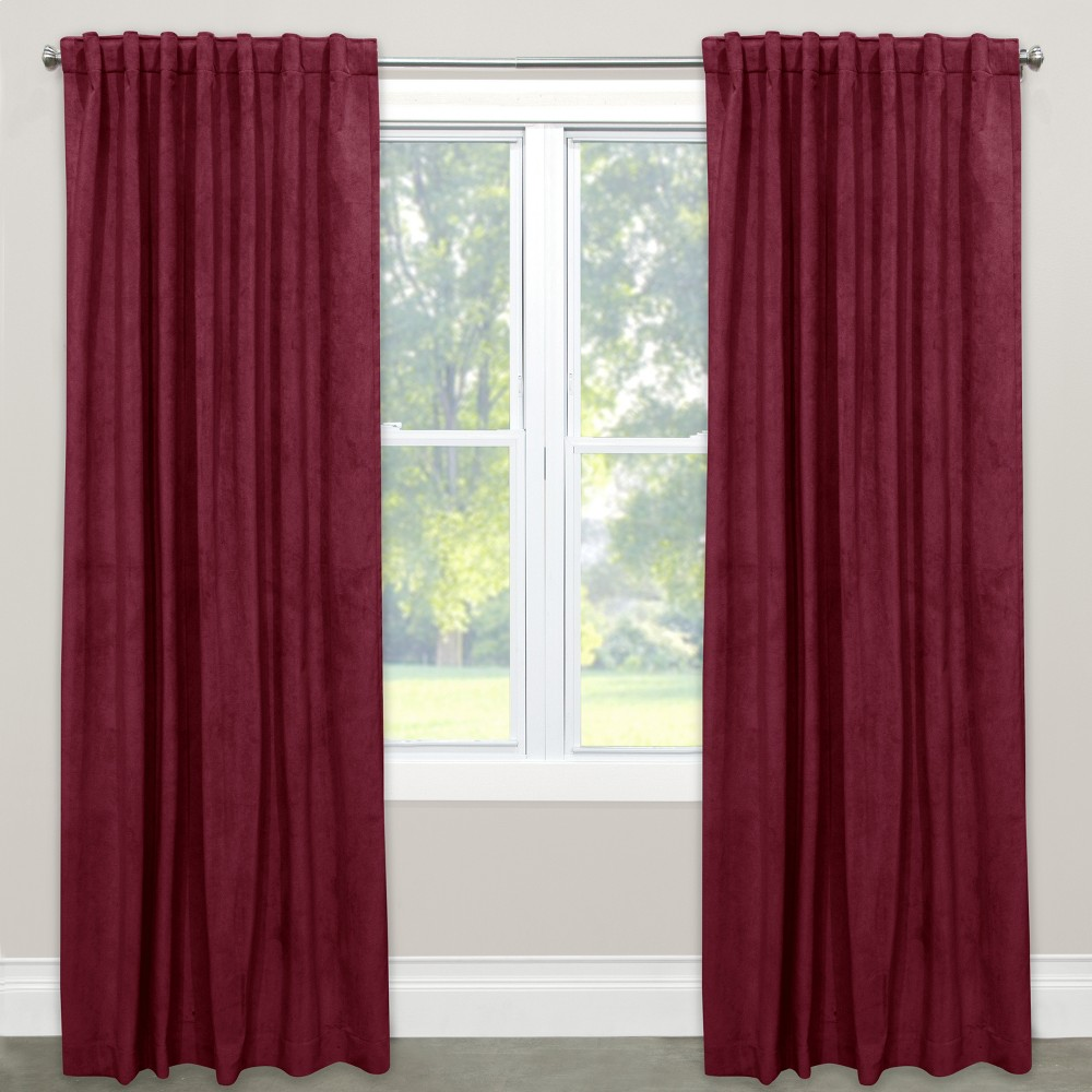 Image of Blackout Curtain Velvet Berry 108L - Skyline Furniture, Berry Red