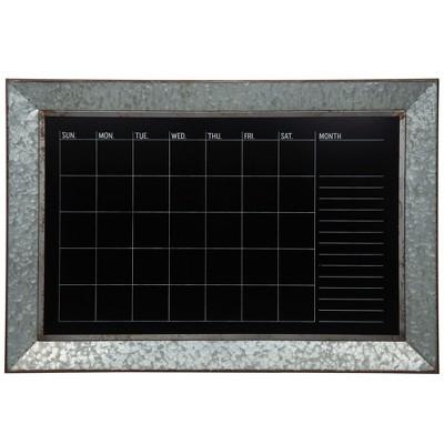 "24""x30"" Rustic Galvanized Metal Framed Wall Mount Chalkboard Calendar Silver - Gallery Solutions"