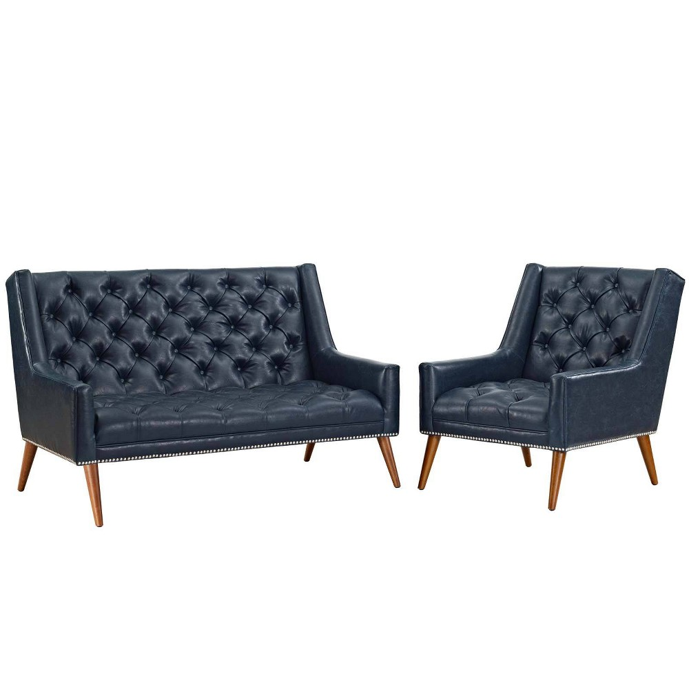 Peruse Set of 2 Living Room Set Faux Leather Blue - Modway