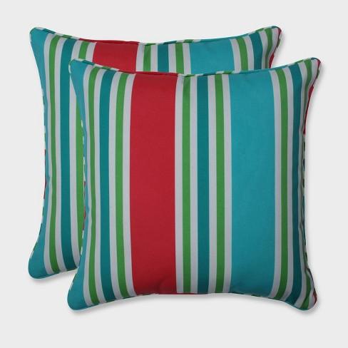 """18.5"""" Aruba Stripe Throw Pillow Blue - Pillow Perfect - image 1 of 1"""