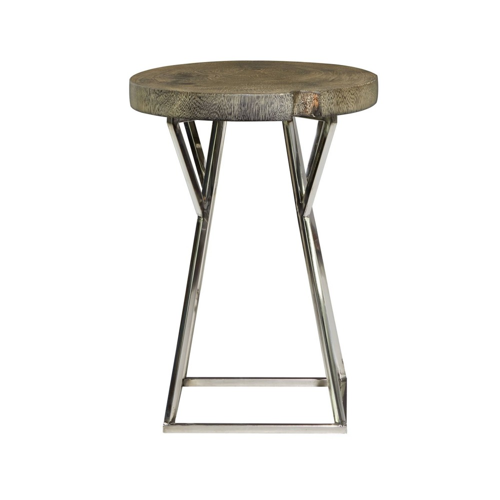 Contemporary Stainless Steel Accent Table Brown Olivia 38 May
